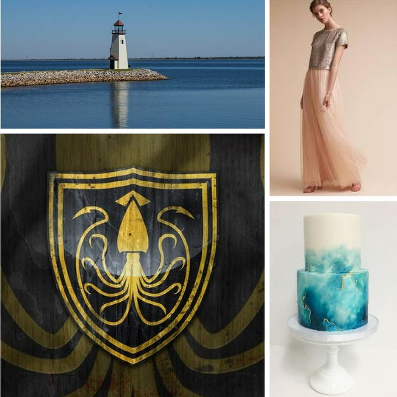 lighthouse a squid emblem  model wearing shear pink pants with grey top geode wedding cake
