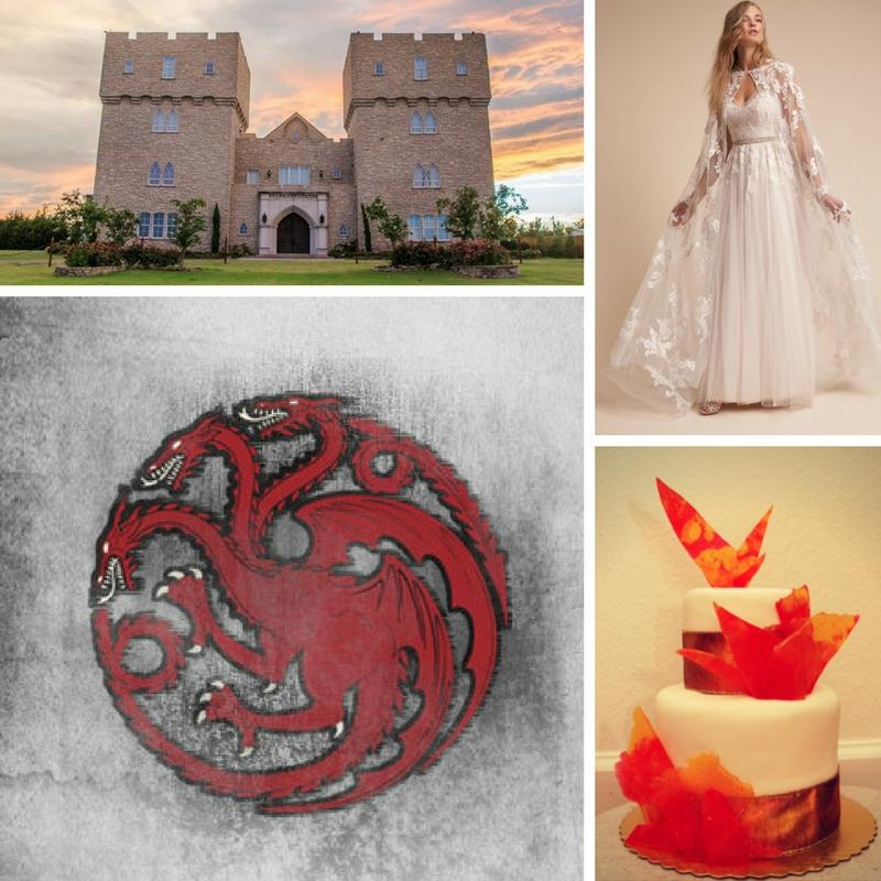 castle wedding venue three headed dragon emblem wedding dress with a lace cape white and gold wedding cake with orange sugar shards