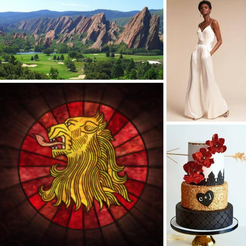 Mountains with a golf course. Lions head stained glass emblem. Black woman in a white silk outfit. Black gold and white wedding cake with red flowers