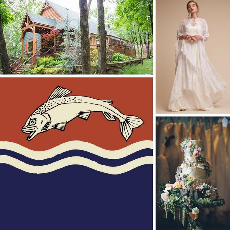 woodland cabin fish emblem long sleeve white lace wedding dress wedding cake with flowers and greenery as decoration
