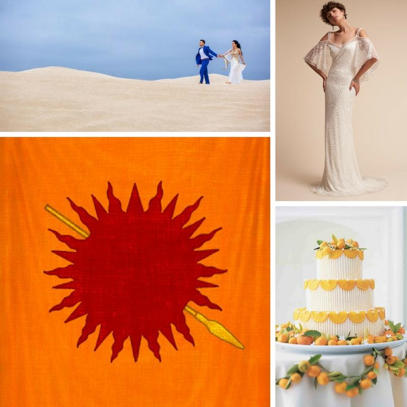 a couple walking through a dessert a house flag a sleek lace wedding dress white cake with oranges