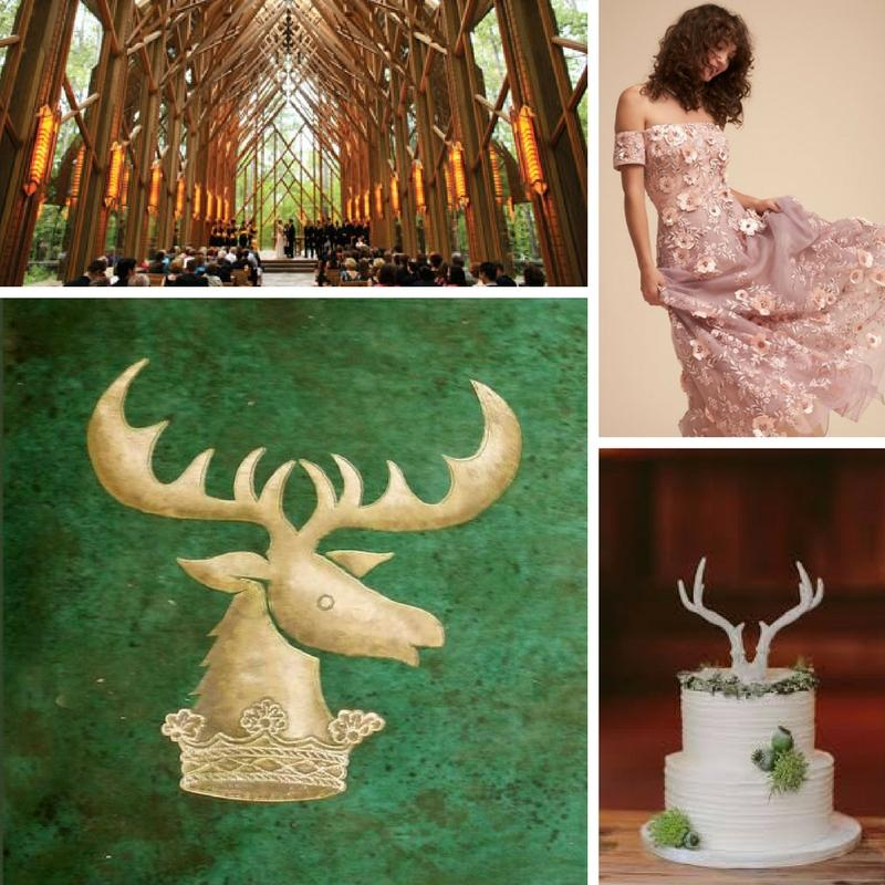 post oak lodge wolf head emblem model wearing a nude color dress with silver accents under a faux fur cover white and stone effect icing